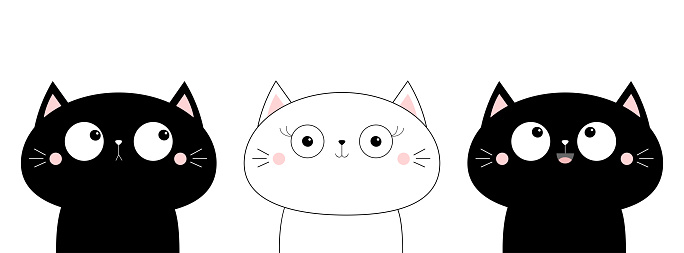 Cat head face line contour silhouette icon set. Funny kawaii doodle animal. Cute cartoon funny pet character. Flat design. White background. Notebook cover, tshirt, greeting card, sticker print