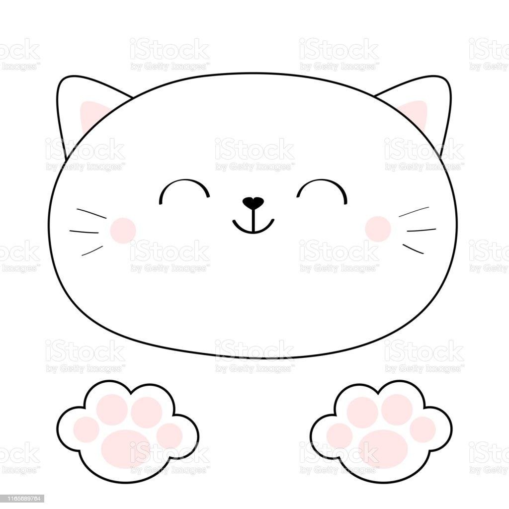 Visage De Tete De Chat Icone Lineaire De Silhouette Patte Imprimer