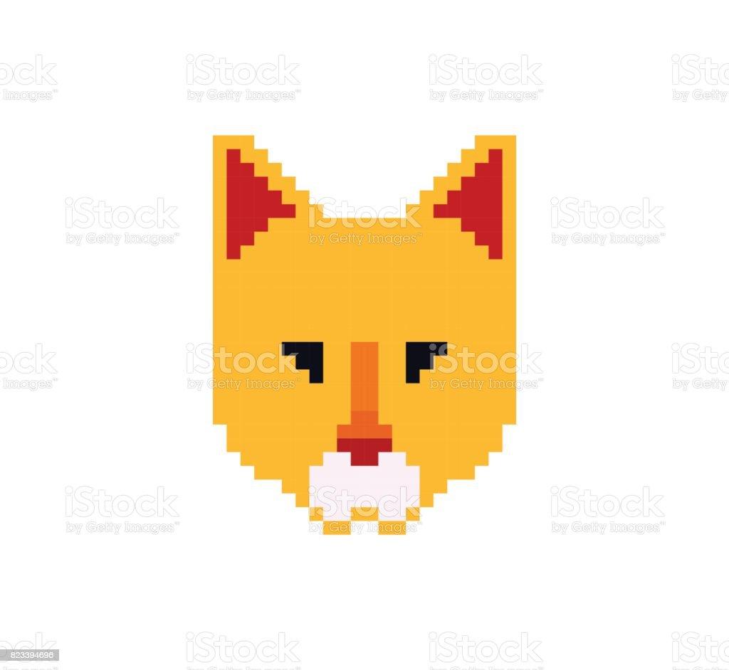 Tête De Chat En Pixel Art Style Fait De Petits Carrés De