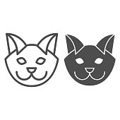 Cat head line and solid icon. Minimal style, kitten pet face symbol. Animals vector design concept, outline style pictogram on white background, use for web and app. Eps 10
