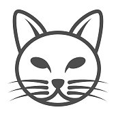 Cat head line icon, pets concept, kitten face sign on white background, cat head silhouette icon in outline style for mobile concept and web design. Vector graphics