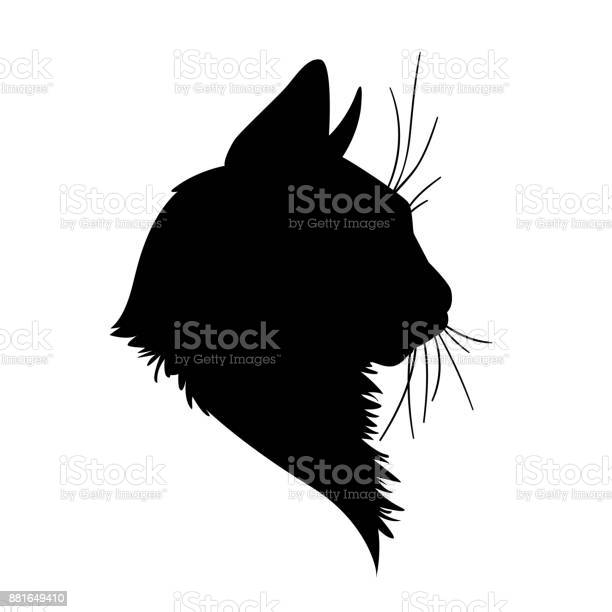 Cat head silhouette vector illustration in monochrome style on white vector id881649410?b=1&k=6&m=881649410&s=612x612&h=l18rjrgrtifiabrarnywimq2lzzoibdmyhl3aqlpk50=