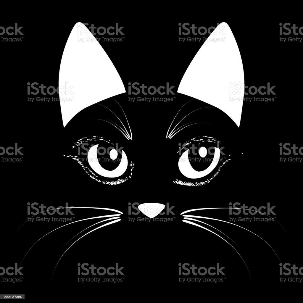 Katze Kopf Tier Vektorgrafik Für Tshirt Skizzetattoodesign Stock ...
