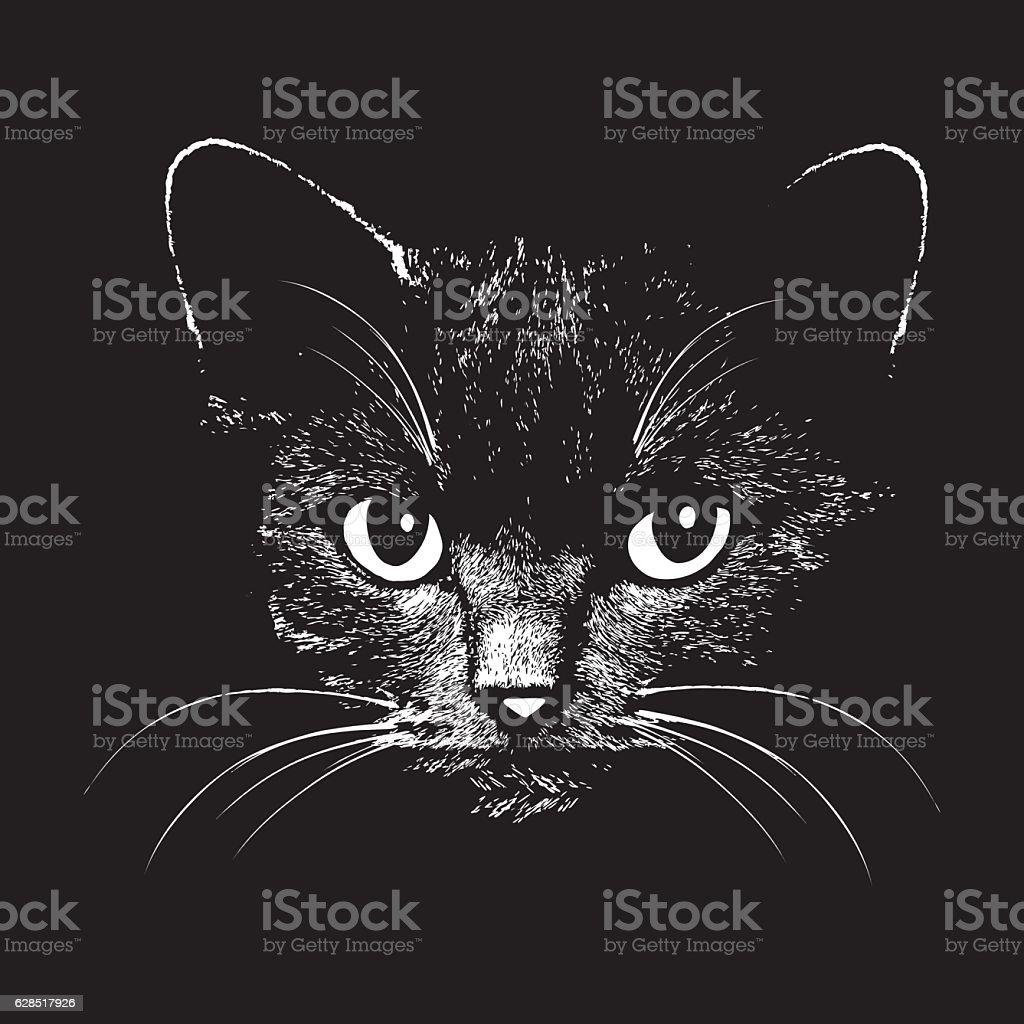 Cat head vector animal illustration for t-shirt vector art illustration