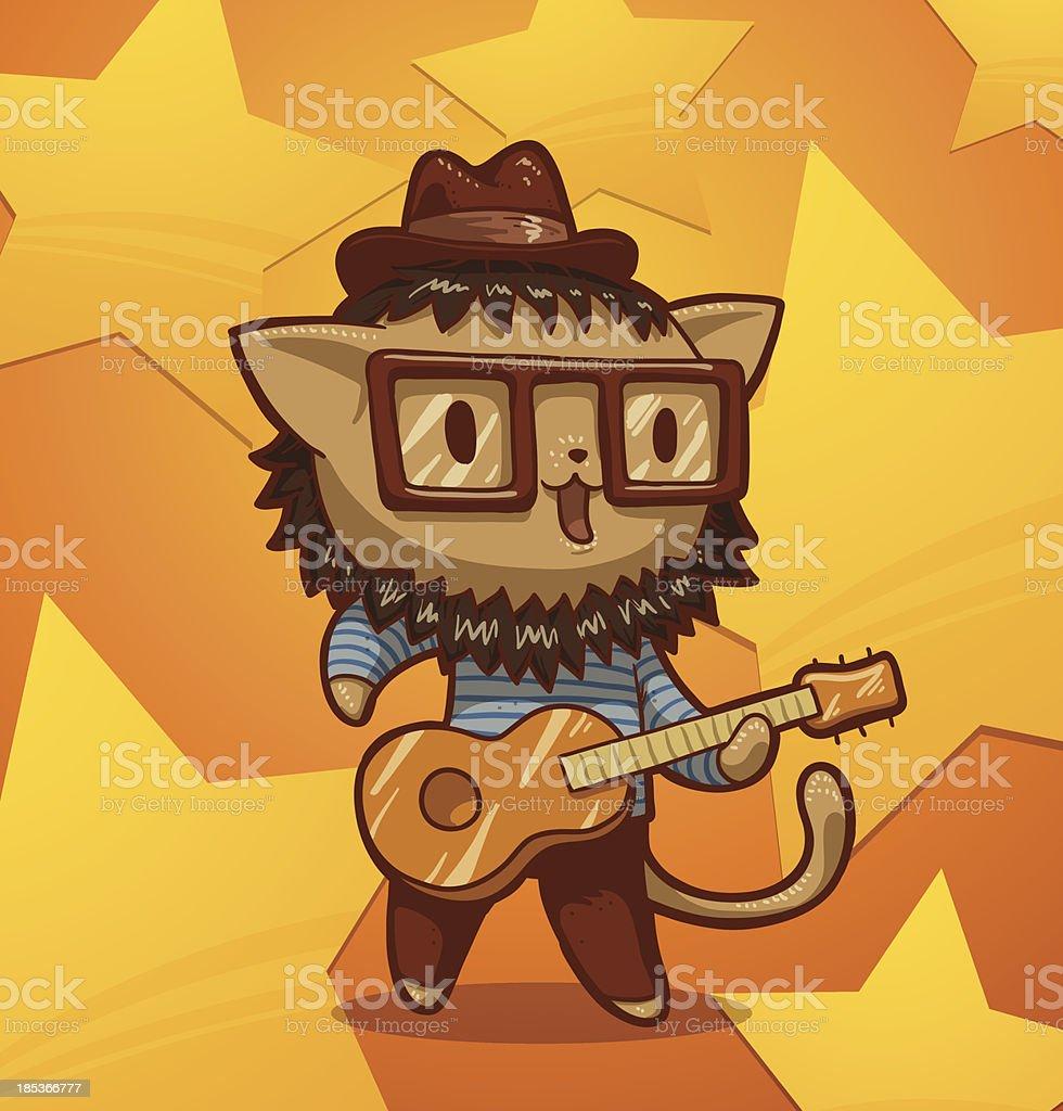 Cat hipster singer - Royaltyfri Affisch vektorgrafik