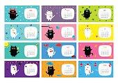 Cat horizontal monthly calendar 2017. Flat design. Vector illustration