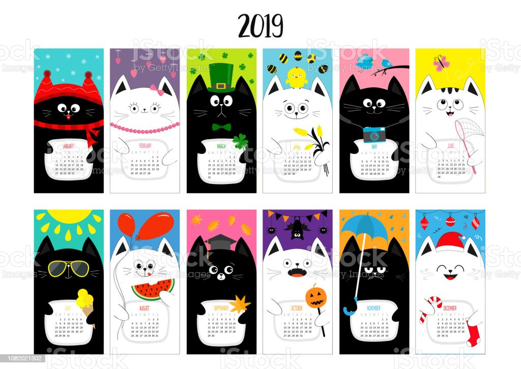 Cat horizontal monthly calendar 2019. Cute funny cartoon character set. All month. Happy Valentines Christmas St Patrick day Easter Egg Bird Chicken Umbrella, rain. Santa hat, sun Flat design vector art illustration