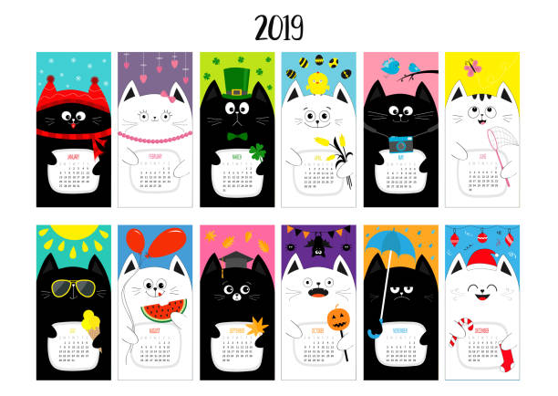 cat horizontal monthly calendar 2019. cute funny cartoon character set. all month. happy valentines christmas st patrick day easter egg bird chicken umbrella, rain. santa hat, sun flat design - birds calendar stock illustrations, clip art, cartoons, & icons