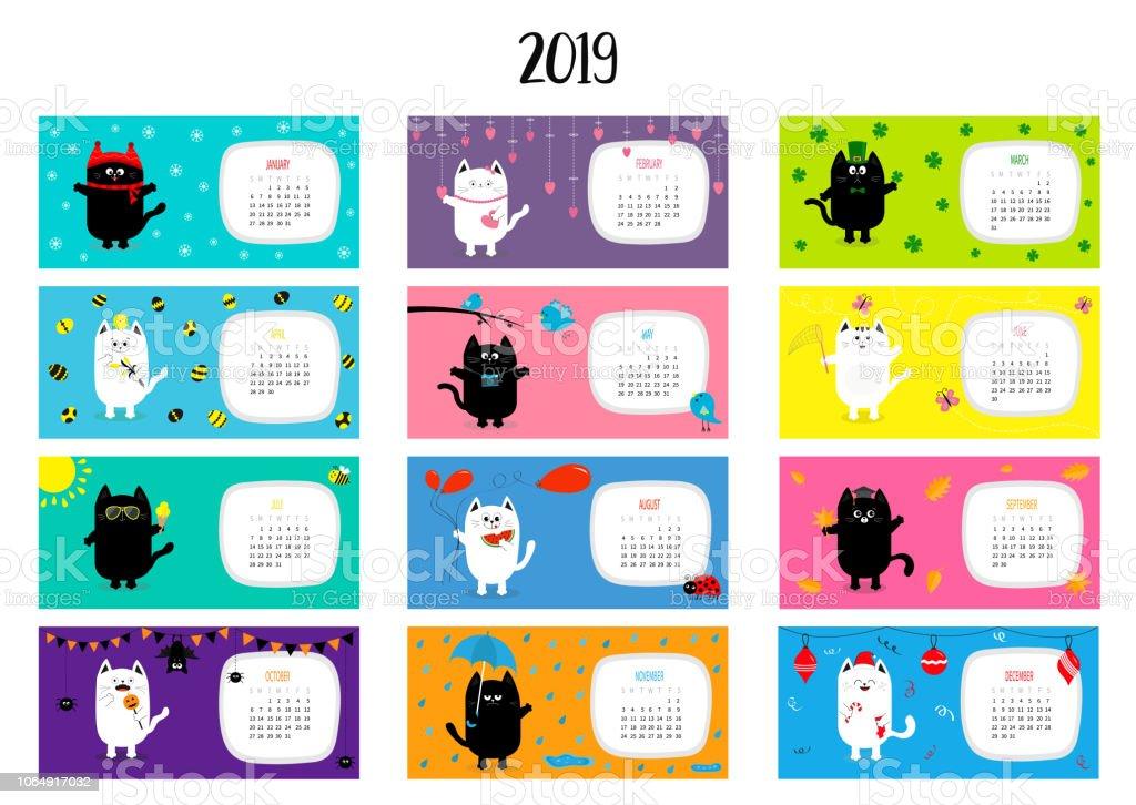 Horizontale Monatliche Katzenkalender 2019 Susse Lustige