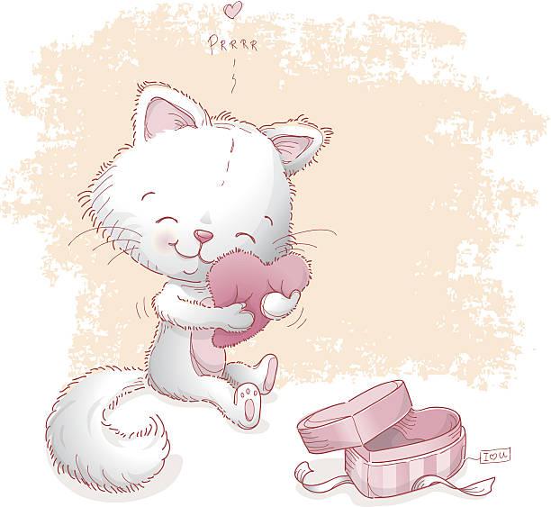 Cat hugging Valentine heart pillow vector art illustration