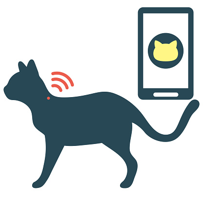 Cat IC Chip Tracking silhouette