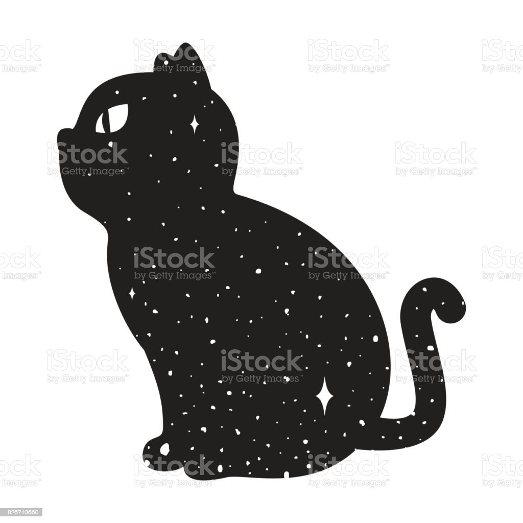 Cat Icon Kitten Black Cat Night Sky Star Icon E Vector Il Ration Halloween Doodle Graphic Il Ration