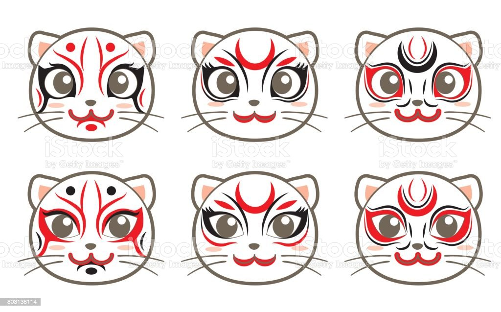 cat icon set - Kabuki style vector art illustration