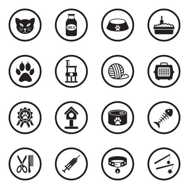 ilustrações de stock, clip art, desenhos animados e ícones de cat icons. set 2. black flat design in circle. vector illustration. - lata comida gato