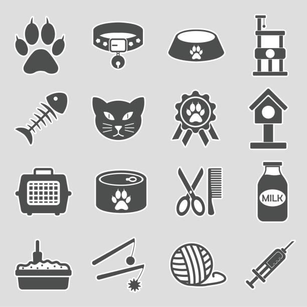 ilustrações de stock, clip art, desenhos animados e ícones de cat icons. set 2. sticker design. vector illustration. - lata comida gato