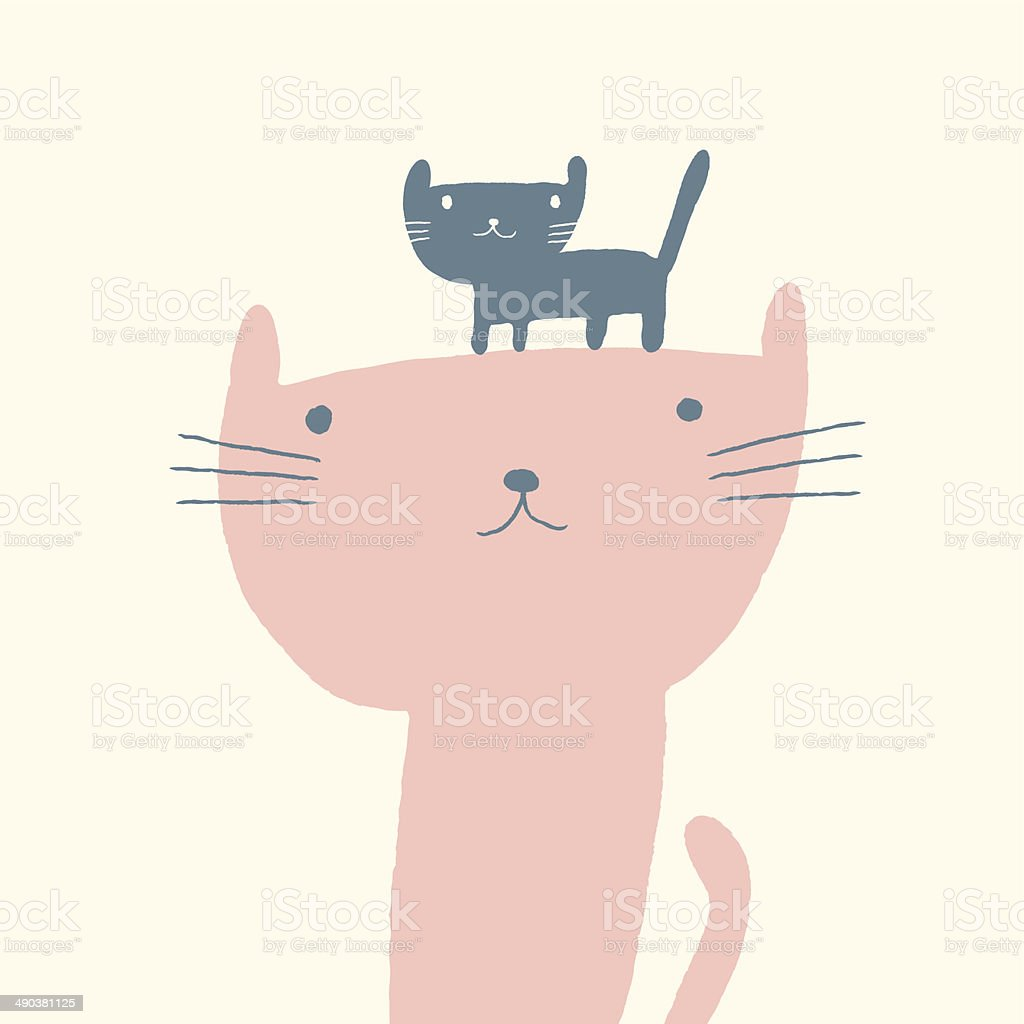 Cat illustration for mothers day vector art illustration