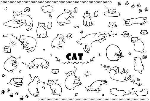 cat illustration set black