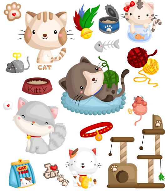 ilustrações de stock, clip art, desenhos animados e ícones de cat image set - lata comida gato