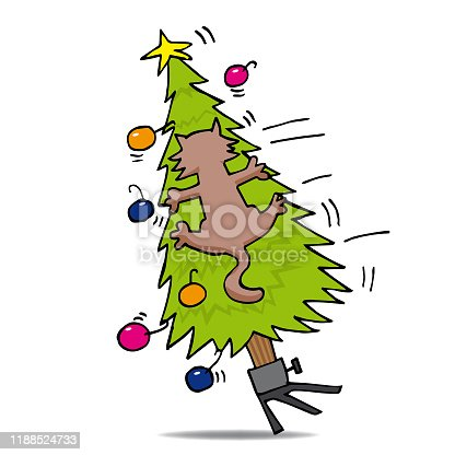 istock Cat in a Christmas tree 1188524733
