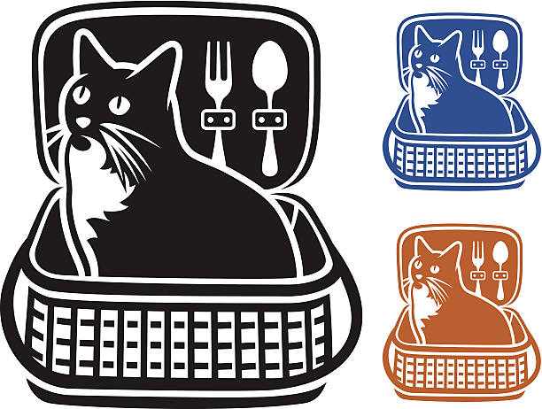 Cat in a Picnic Basket vector art illustration