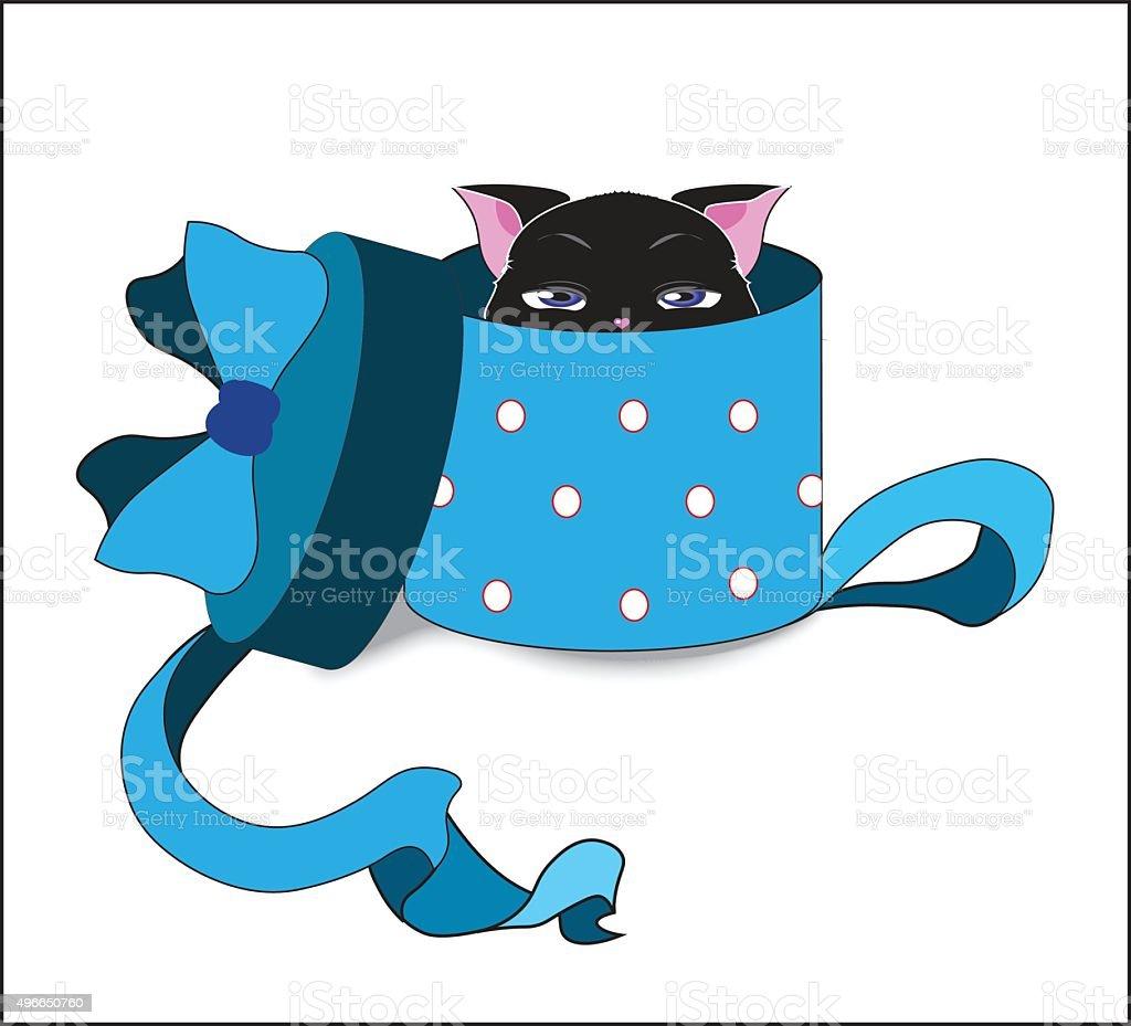 cat in box vector art illustration