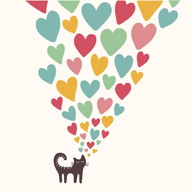 Cat in love Cute cat with color hearts animal valentine stock illustrations