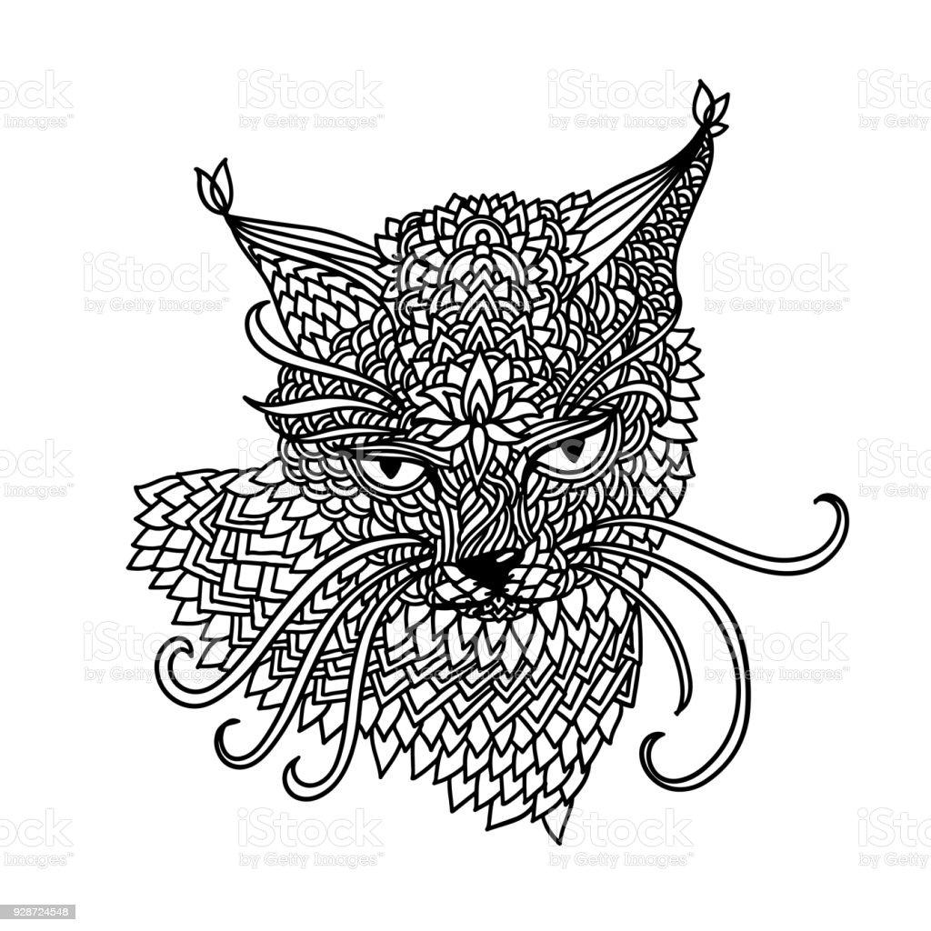 Katze Im Mandalamusterstil Tagle Schwarzen Und Weißen Hintergrund ...