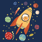 Cat in rocket. Cute surprised pet in spaceship. Funny kitty travelling in space. Flat cartoon vector illustration for kids. Hand drawn character, stars, planets in scandinavian style