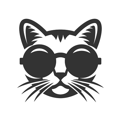 Cat in round sunglasses icon.