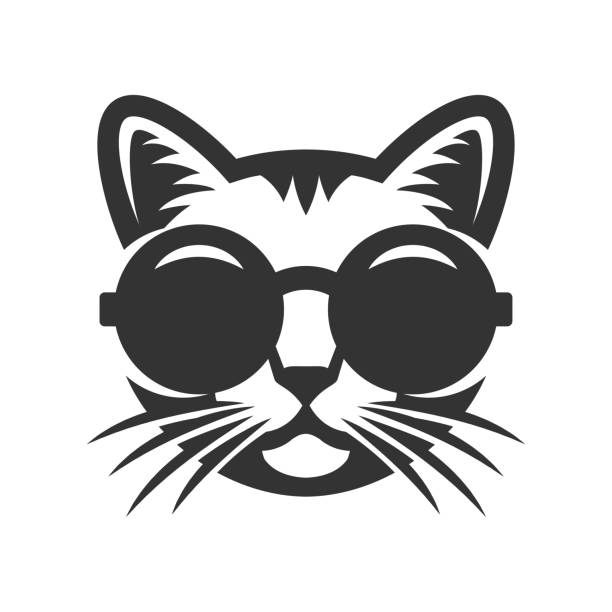 cat in round sunglasses icon. - cat stock illustrations