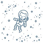 Cute cartoon astronaut cat flying in space. Hand drawn doodle style vector illustration.