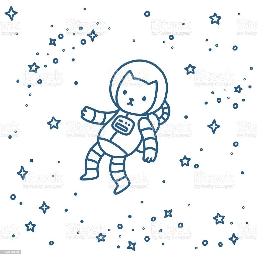 Gatto in spazio - illustrazione arte vettoriale