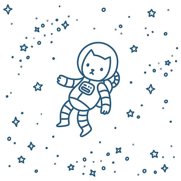 Cat in space vector art illustration