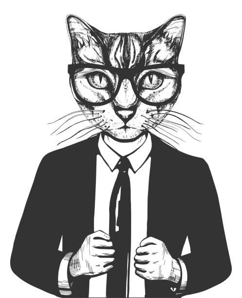 stockillustraties, clipart, cartoons en iconen met kat in pak en glazen - bizar