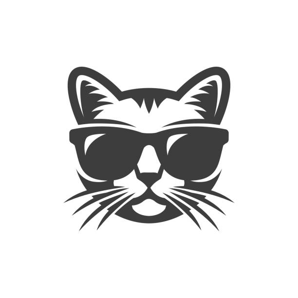 Cat in sunglasses vector art illustration