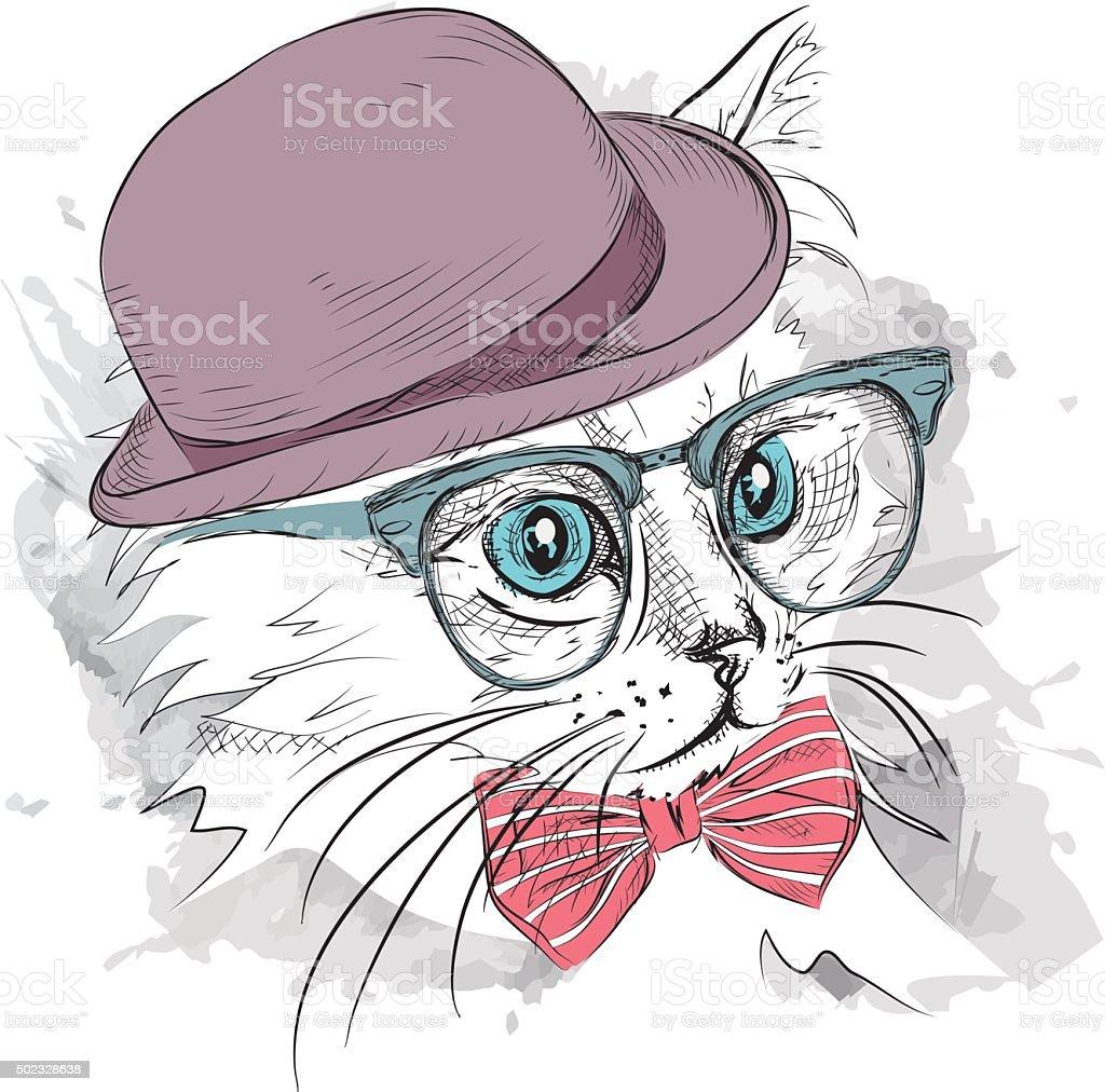 Кошка в шляпе Косыночная повязка и стаканы Векторный ...