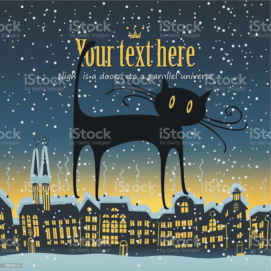 cat is on the roof royalty-free stock vector art