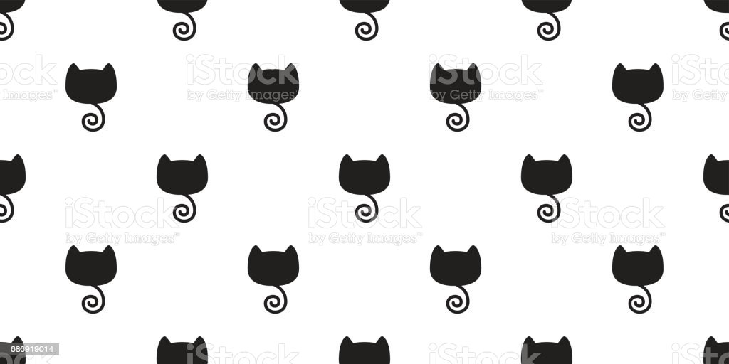 Katze Kitten Black Cat Tail Musterdesign Wallpaper Hintergrund Stock