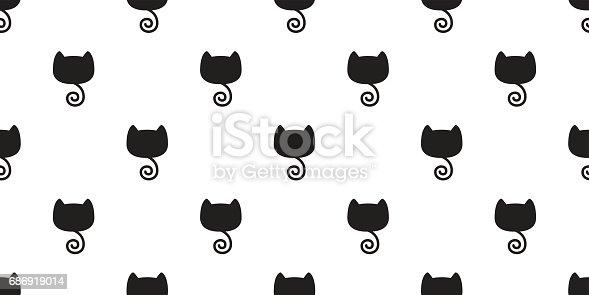 Katze Kitten Black Cat Tail Musterdesign Wallpaper Hintergrund Stock