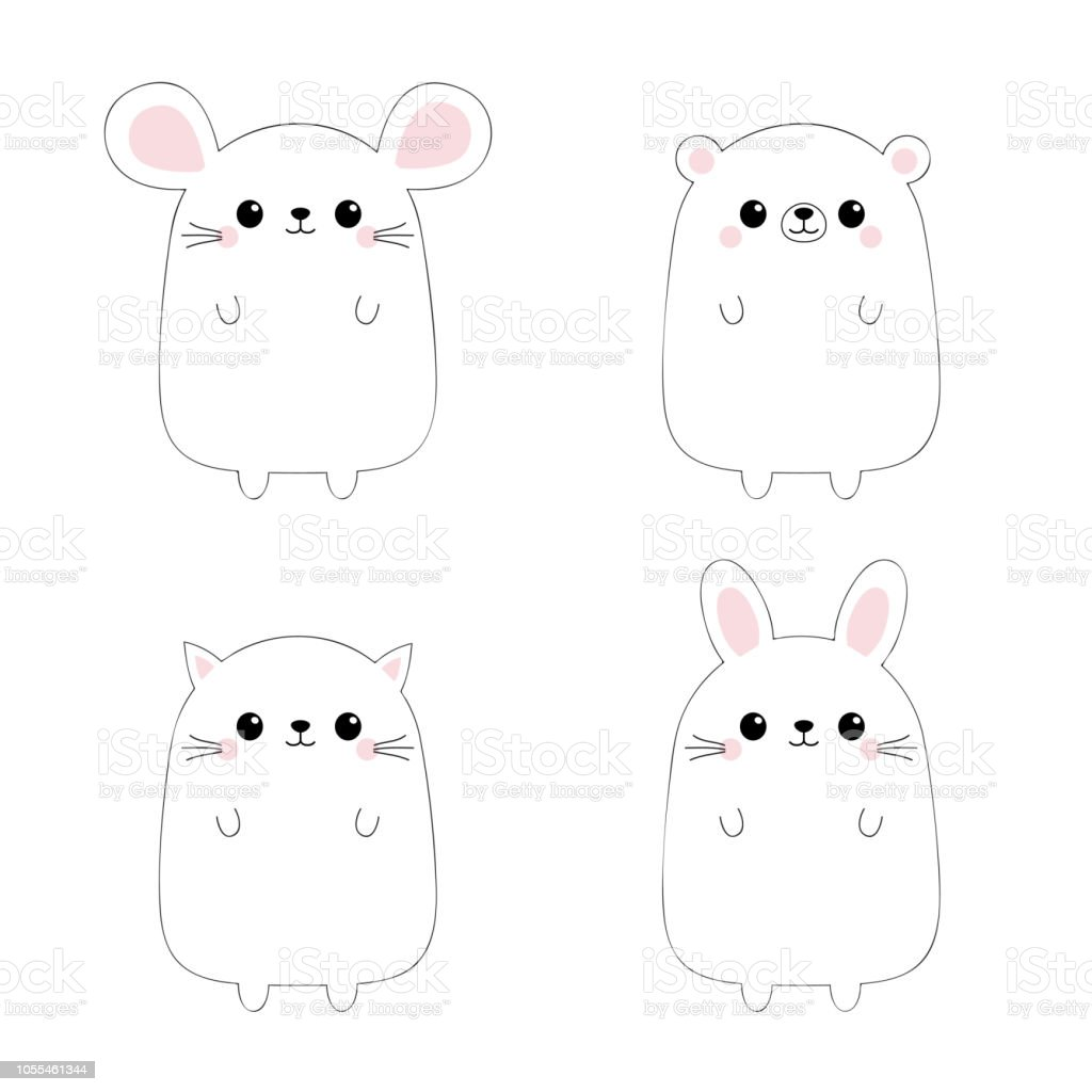 Image of: Images Cat Kitten Kitty Mouse Bear Rabbit Hare Icon Set Black Contour Silhouette Doodle Linear Sketch Kawaii Animal Cute Cartoon Character Funny Baby Istock Cat Kitten Kitty Mouse Bear Rabbit Hare Icon Set Black Contour