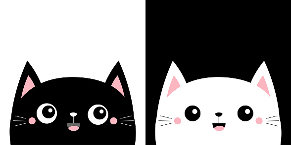 Cat kitten kitty smiling icon set. Kawaii cartoon character. Cute face. Happy Valentines Day. Pink cheeks. Baby greeting card tshirt notebook cover print. White black background. Flat design.