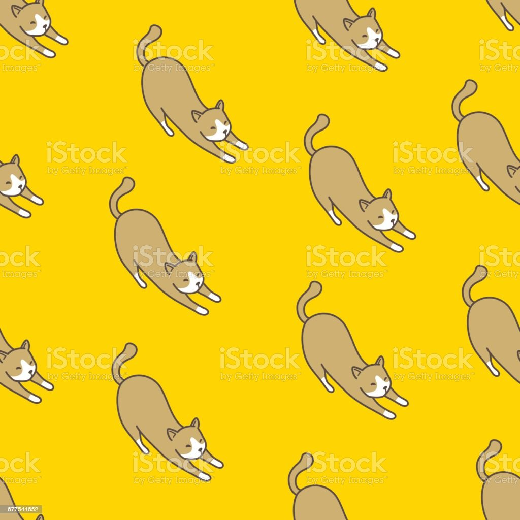 Cat Kitten Seamless Pattern Doodle Yellow royalty-free cat kitten seamless pattern doodle yellow stock vector art & more images of animal