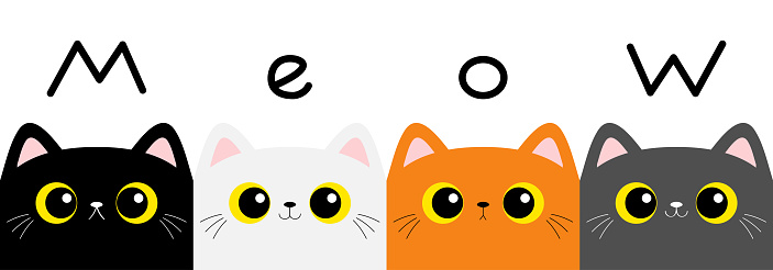 Cat kitten set. Meow text. Square head face banner. Cute cartoon character. Kawaii baby pet animal. Yellow eyes. Notebook cover, tshirt, greeting card print. Flat design. White background.