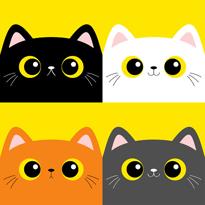 Cat kitten set. Square head face . Cute cartoon character. Kawaii baby pet animal. Pink ears, nose. Yellow eyes. Notebook cover, tshirt, greeting card print. Flat design. Yellow background.
