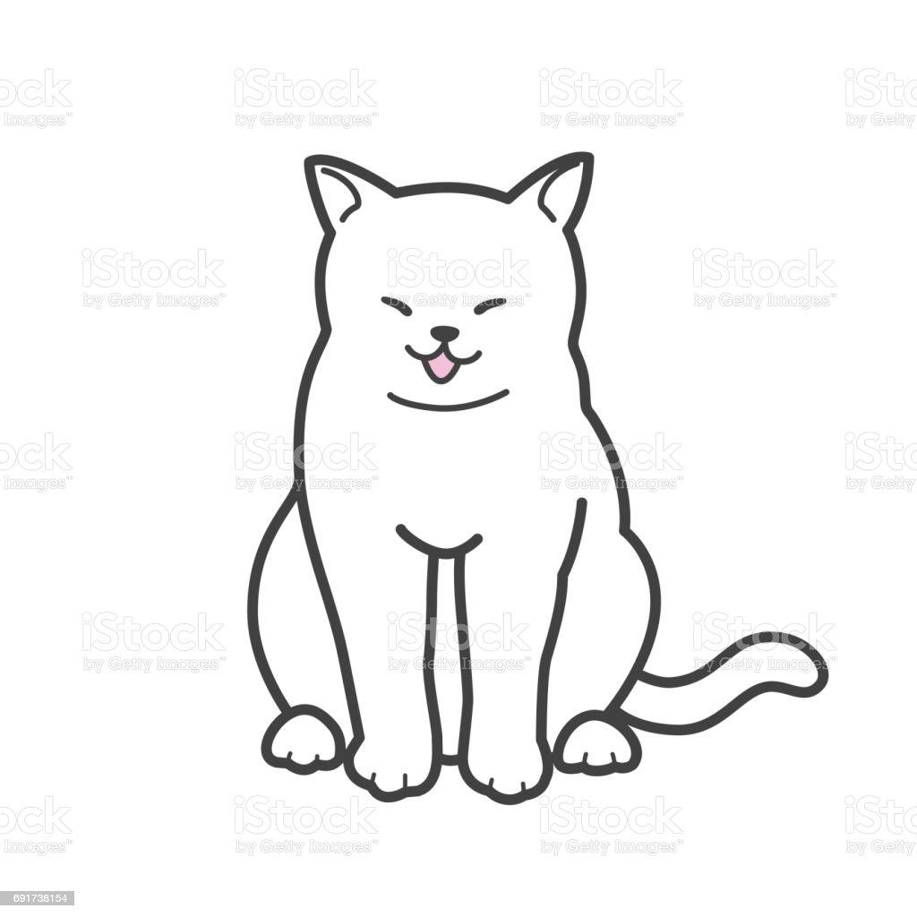 Ilustración de Ilustración De Vector De Gato Gatito Sonrisa Doodle y ...
