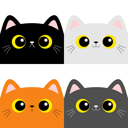 Cat kitten square head face set. Cute cartoon character. Kawaii baby pet animal. Pink ears, nose. Yellow eyes. Notebook cover, tshirt, greeting card print. Flat design. White background.