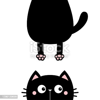 Cat kitten sticker. Funny face head silhouette. Hanging fat body paw print, tail. Kawaii animal. Baby card. Notebook cover. Cute cartoon character. Pet collection. Flat. Blue background.