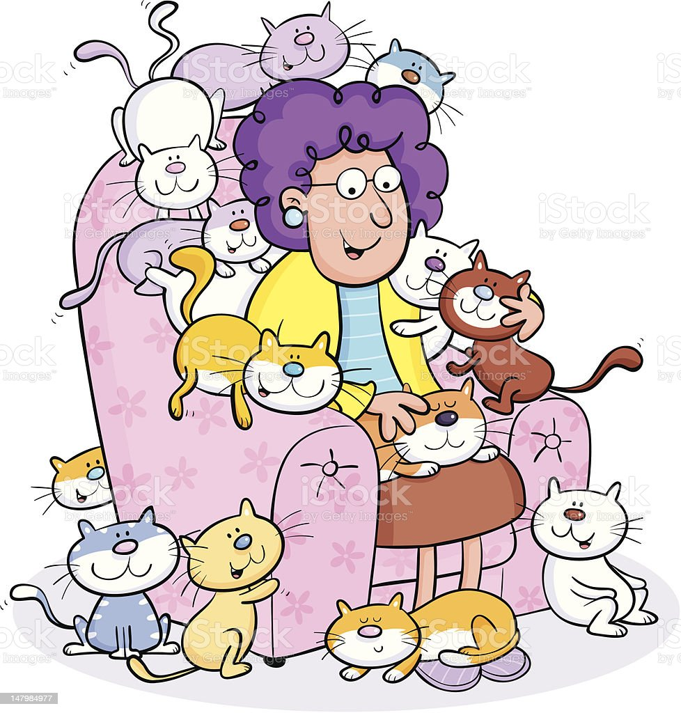 Cat lady vector art illustration