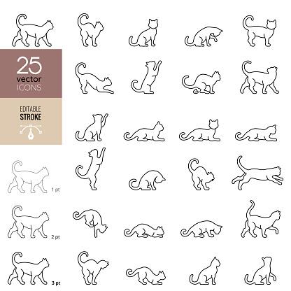 Cat line icon set. Editable stroke.