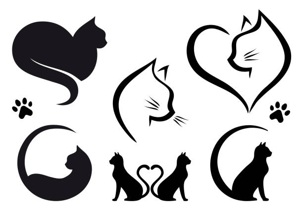cat logo design, vector set - cat stock illustrations, clip art, cartoons, & icons